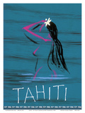 Tahiti - Nude Tahitian Girl - Fly Teal (Tasman Empire Airways Limited)