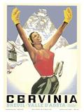Breuil-Cervinia  Italy - Skier at Alpine Sky Resort - Valle D'Aosta (Aosta Valley)