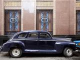 Vintage Car Parked Next to the Bacardi Rum Building in Havana  Cuba