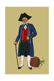 Alsacian Man from Saverne with Pipe  Tri-Cornered Hat and Wears Britches