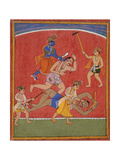 Krishna Killing King Kamsa and Balarama Slaying a Wrestler