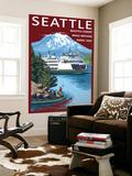 Ferry & Mount Rainier Scene - Seattle  Washington