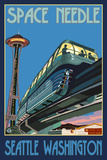 Space Needle and Monorail  Seattle  Washington