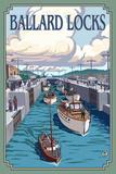 Ballard Locks and Boats  Seattle  Washington
