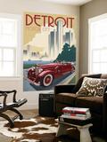 Detroit  Michigan - Vintage Car and Skyline