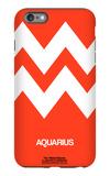 Aquarius Zodiac Sign White on Orange