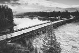 Fishing Bridge Scene in Black and White  Yellowstone National Park