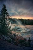 Dark Yellowstone  Biscuit Basin  National Park  Wyoming