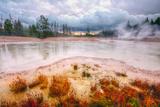 Misty Mud Pot Morning Landscape Yellowstone National Park