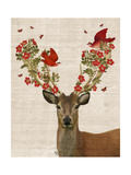 Deer and Love Birds Reproduction d'art par Fab Funky