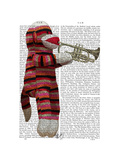Sock Monkey Playing Trumpet Reproduction d'art par Fab Funky