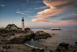 Dusk Sets in at the Portland Head Light as the Portland Ferry Passes By