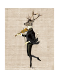 Dancing Deer with Violin Reproduction d'art par Fab Funky