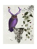Purple Owl with Antlers Reproduction d'art par Fab Funky