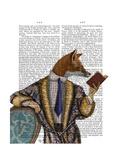 Book Reader Fox Reproduction d'art par Fab Funky