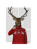 Deer in Ski Sweater Reproduction d'art par Fab Funky