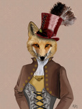Vivienne Steampunk Fox Reproduction d'art par Fab Funky