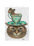 Cheshire Cat with Cup on Head Reproduction d'art par Fab Funky