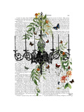 Chandelier with Vines and Butterflies Reproduction d'art par Fab Funky