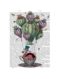 Dodo in Teacup with Dragonflies Reproduction d'art par Fab Funky