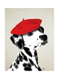 Dalmatian with Red Beret Reproduction d'art par Fab Funky