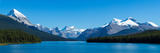 Maligne Lake with Canadian Rockies at Jasper National Park  Alberta  Canada