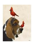 Basset Hound and Birds Reproduction d'art par Fab Funky