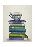 Teacup and Books Reproduction d'art par Fab Funky