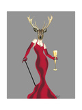 Glamour Deer in Red Reproduction d'art par Fab Funky