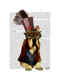 Basset Hound Steampunk Top Hat Goggles Reproduction d'art par Fab Funky