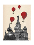 St Basil's Cathedral and Red Hot Air Balloons