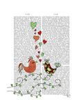Love Birds Illustration Reproduction d'art par Fab Funky