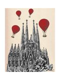Sagrada Familia and Red Hot Air Balloons