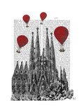 Sagrada Familia and Red Hot Air Balloons Reproduction d'art par Fab Funky