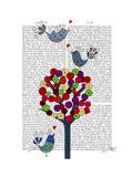 Button Tree and Birds Blue Reproduction d'art par Fab Funky