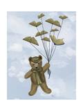 Bear with Book Butterflies Reproduction d'art par Fab Funky