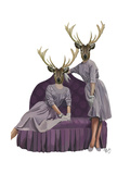 Deer Twins in Purple Dresses