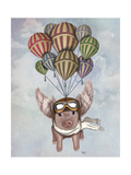 Pig and Balloons Reproduction d'art par Fab Funky