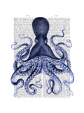 Blue Octopus 3 Reproduction d'art par Fab Funky