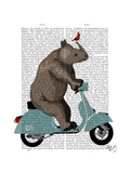 Rhino on Moped Reproduction d'art par Fab Funky