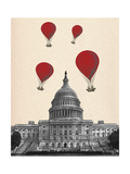US Capitol Building and Red Hot Air Balloons Reproduction d'art par Fab Funky