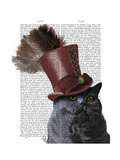 Grey Cat with Steampunk Top Hat Reproduction d'art par Fab Funky