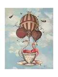 Flamingos in Teacup Reproduction d'art par Fab Funky