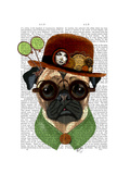 Pug with Steampunk Bowler Hat Reproduction d'art par Fab Funky