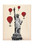 Statue of Liberty and Red Hot Air Balloons