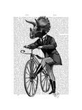 Triceratops Man on Bike Dinosaur Reproduction d'art par Fab Funky