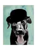 Black Labrador in Bowler Hat Reproduction d'art par Fab Funky