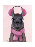 Chilly Llama Pink Reproduction d'art par Fab Funky