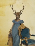 Deer in Blue Dress Reproduction d'art par Fab Funky