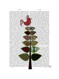 Tartan Tree Illustration Reproduction d'art par Fab Funky